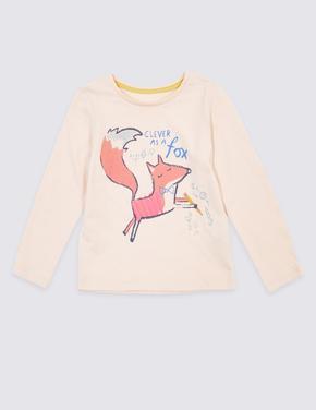 Kız Çocuk Pembe Saf Pamuklu Tilki Baskılı T-Shirt