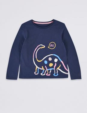 Saf Pamuklu Dinozor Baskılı Bluz