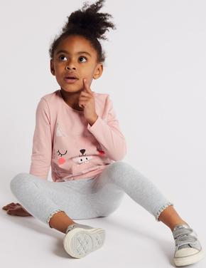Kız Çocuk Gri Pamuklu Tayt