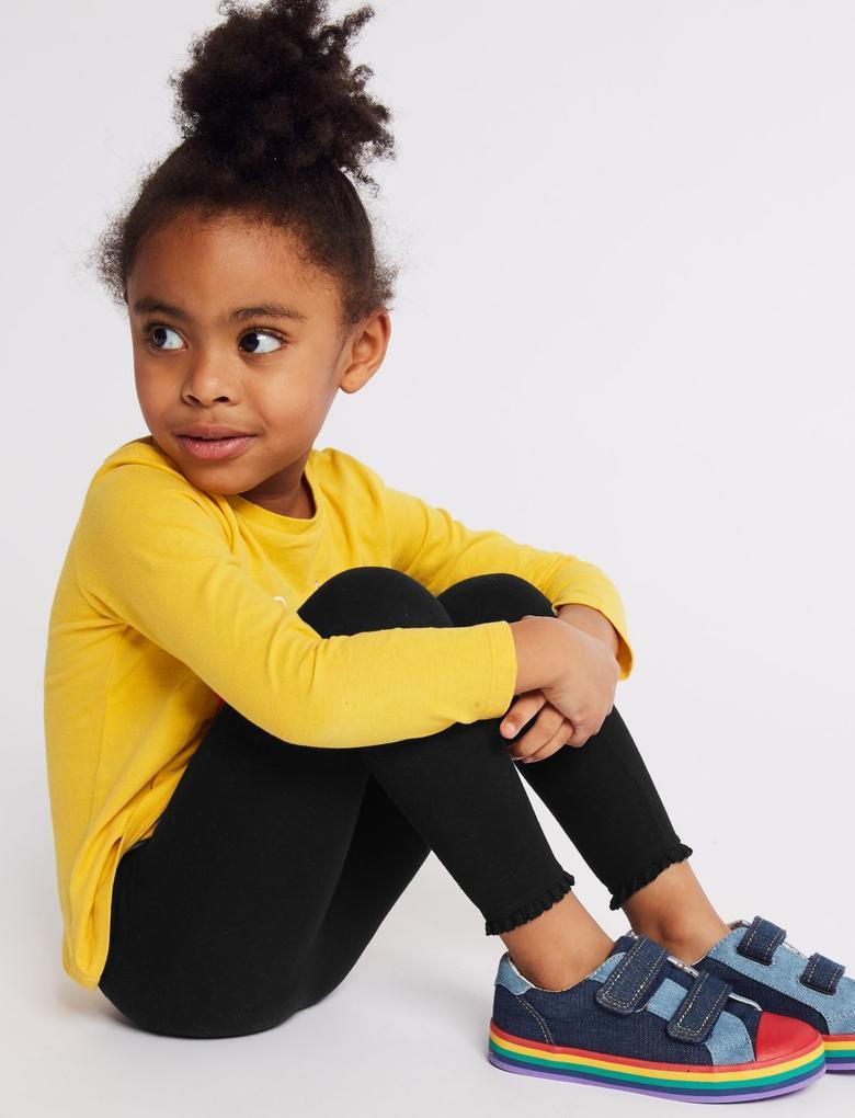 Kız Çocuk Siyah Pamuklu Tayt