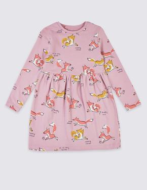 Saf Pamuklu Tilki Baskılı Elbise