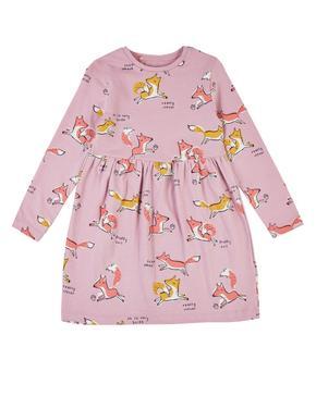 Kız Çocuk Pembe Saf Pamuklu Tilki Baskılı Elbise