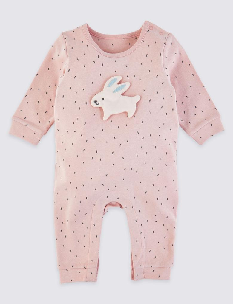 Bebek Pembe Pamuklu Tavşan Detaylı Tulum