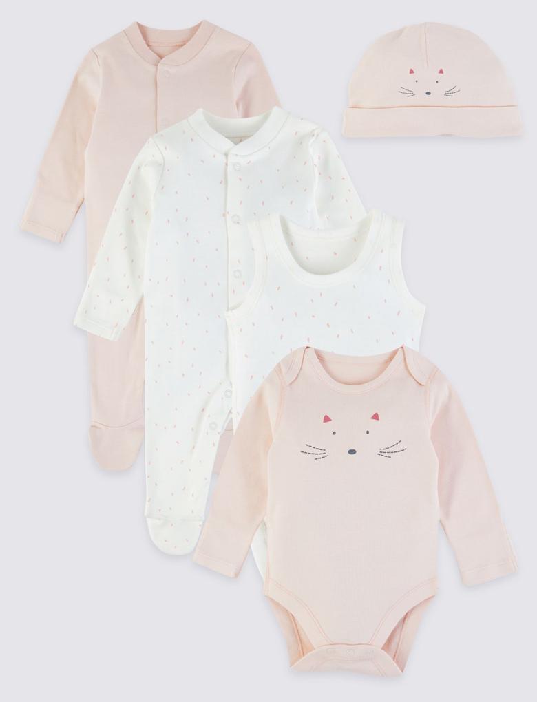 Bebek Pembe 5 Parça Saf Pamuklu Hoşgeldin Bebek Seti