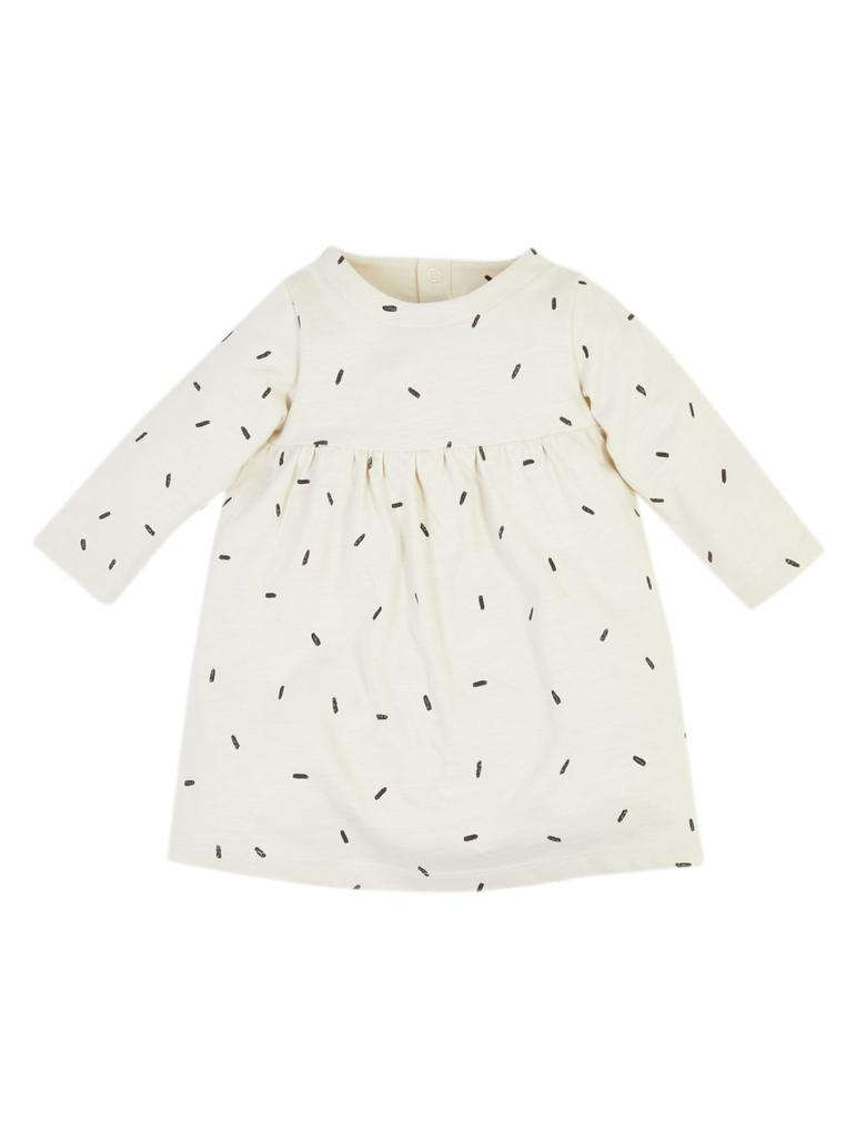Bebek Bej Uzun Kollu Desenli Elbise