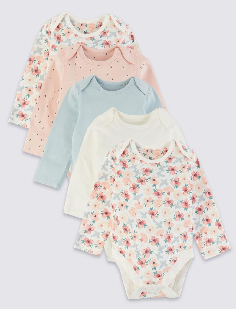 Bebek Multi Renk 5'li Saf Pamuklu Body Seti