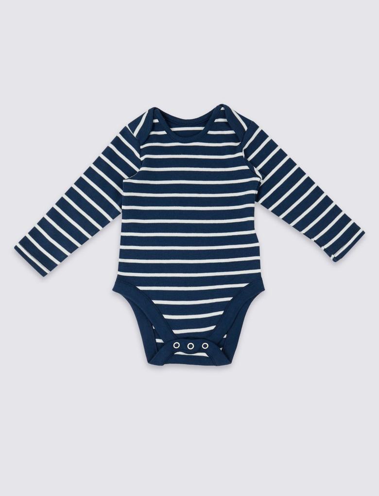 Bebek Lacivert 2 Parça Denim Salopet ve Body Takımı