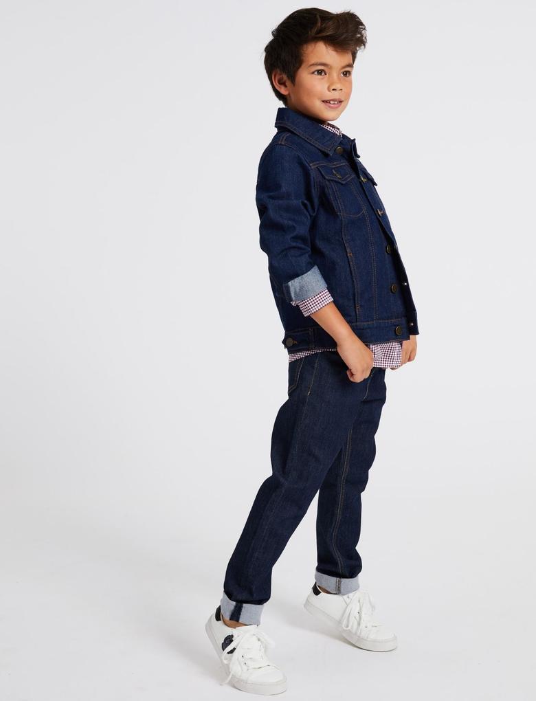 Erkek Çocuk Lacivert Pamuklu Streç Jean Pantolon