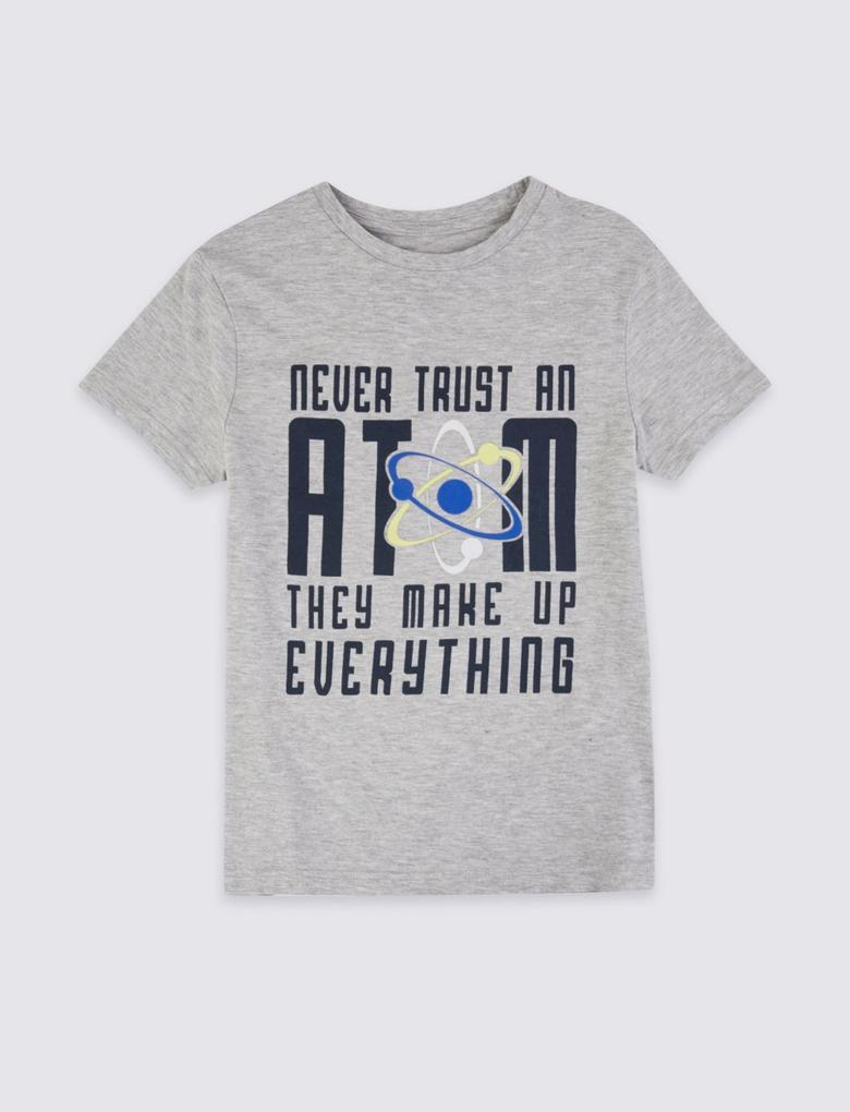 Erkek Çocuk Gri Pamuklu Baskılı T-shirt