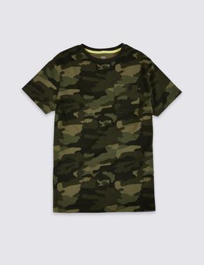 Saf Pamuklu Kamuflaj Baskılı T-Shirt