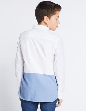 Erkek Çocuk Lacivert Saf Pamuklu Uzun Kollu Gömlek