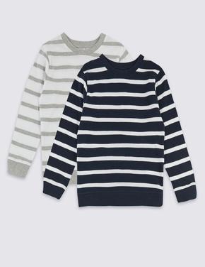 Multi Renk 2'li Saf Pamuklu Sweatshirt Seti