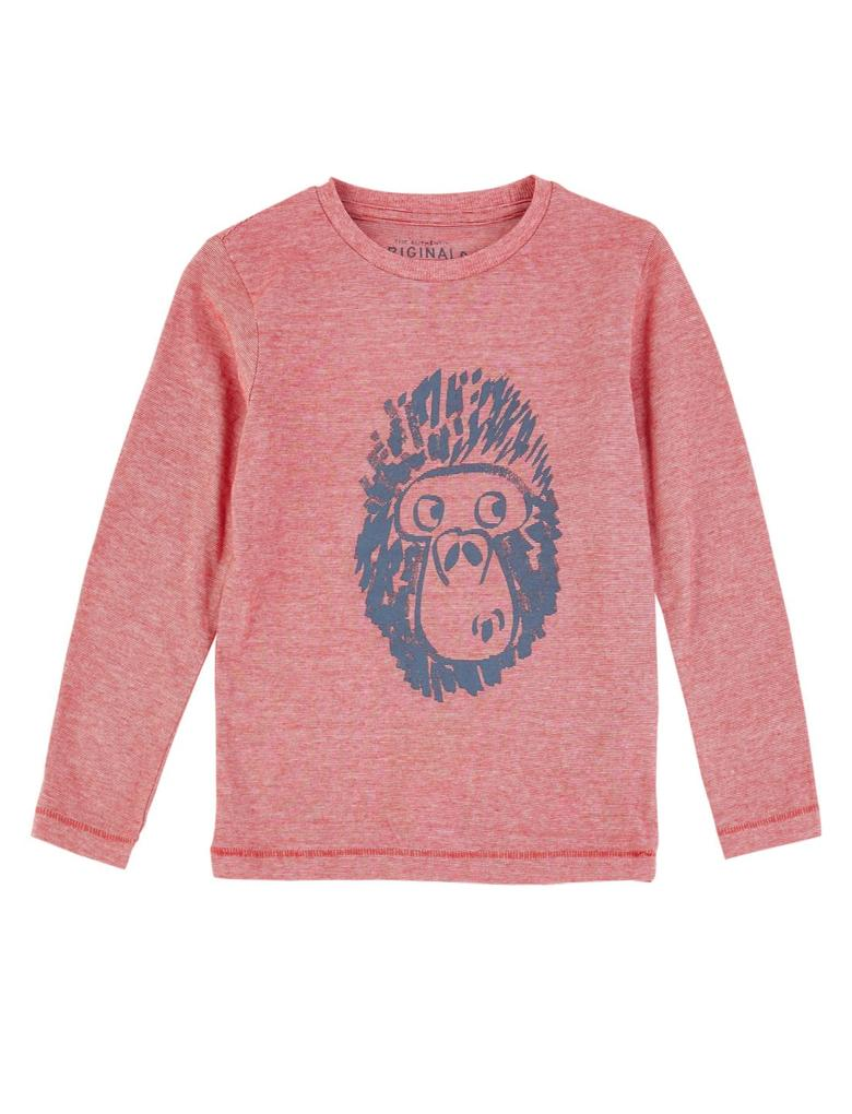 Saf Pamuklu Goril Baskılı T-shirt
