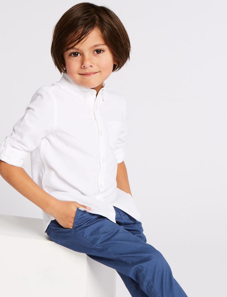 Erkek Çocuk Beyaz Saf Pamuklu Gömlek
