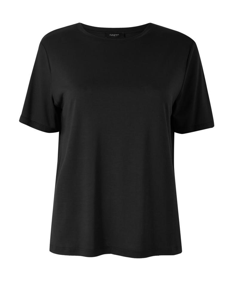 Kadın Siyah Kısa Kollu T-Shirt