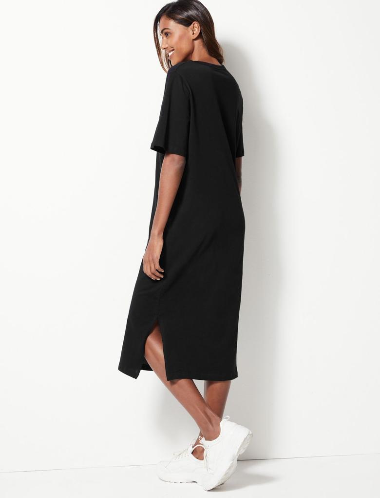 Saf Pamuklu Midi Elbise