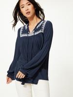 Kadın Lacivert İşlemeli Uzun Kollu Bluz