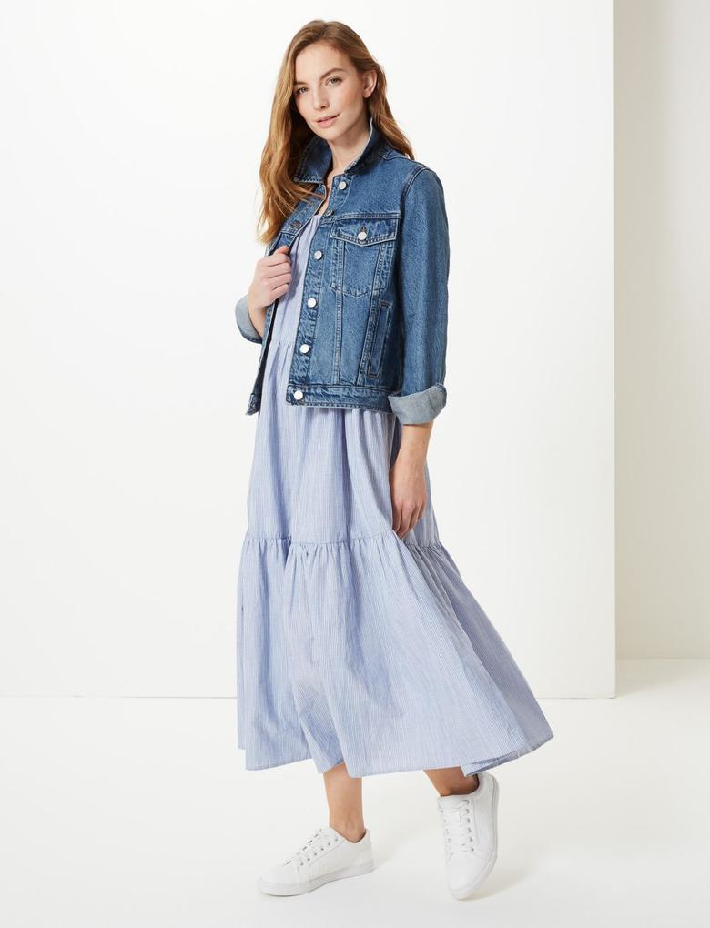 Kadın Lacivert Düğme Detaylı Denim Ceket