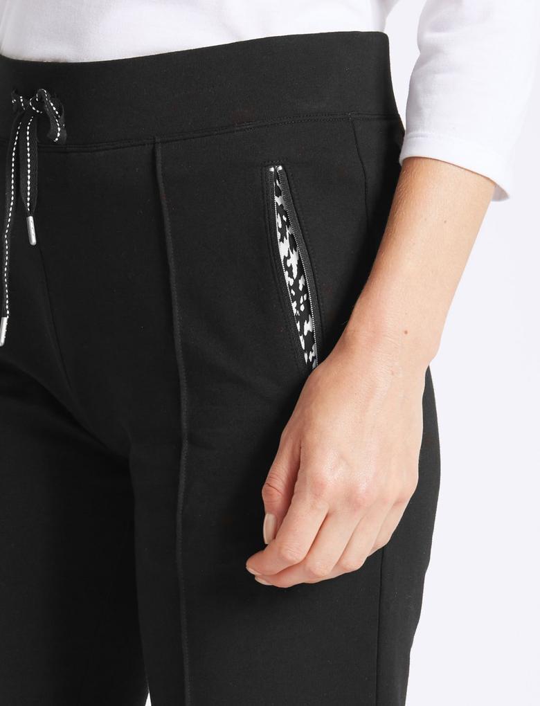 Kadın Siyah Straight Leg Jogger Pantolon