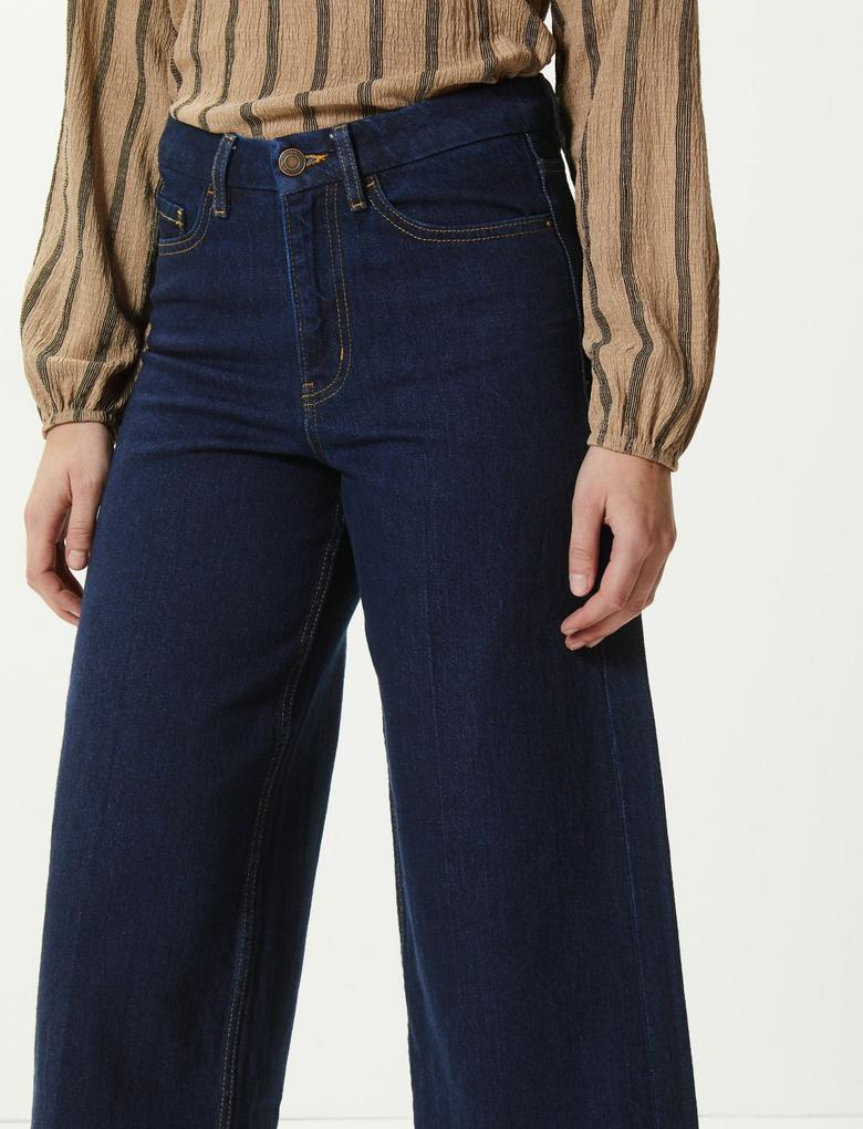 Lacivert Yüksek Bel Wide Leg Cropped Jean