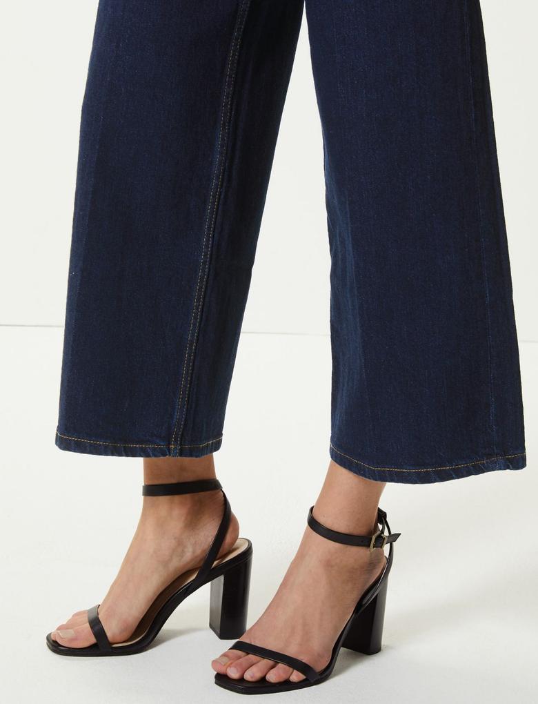 Yüksek Bel Wide Leg Cropped Jean