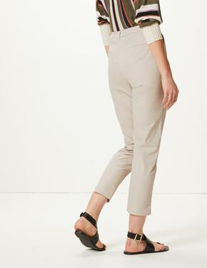 Pamuklu Tapered Leg Ankle Chino Pantolon