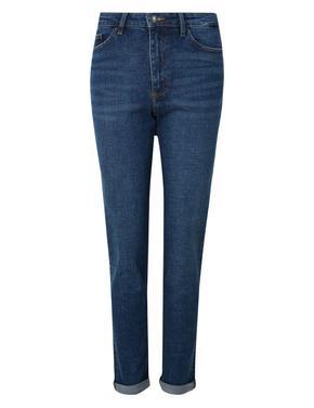Kadın Mavi Relaxed Slim Orta Belli Jean Pantolon