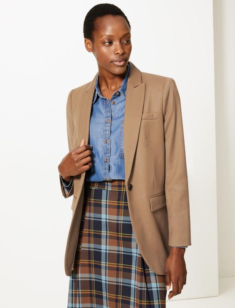 Kadın Kahverengi Yünlü Tek Düğmeli Blazer Ceket