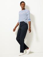 Kadın Lacivert Toka Detaylı Straight Leg Pantolon