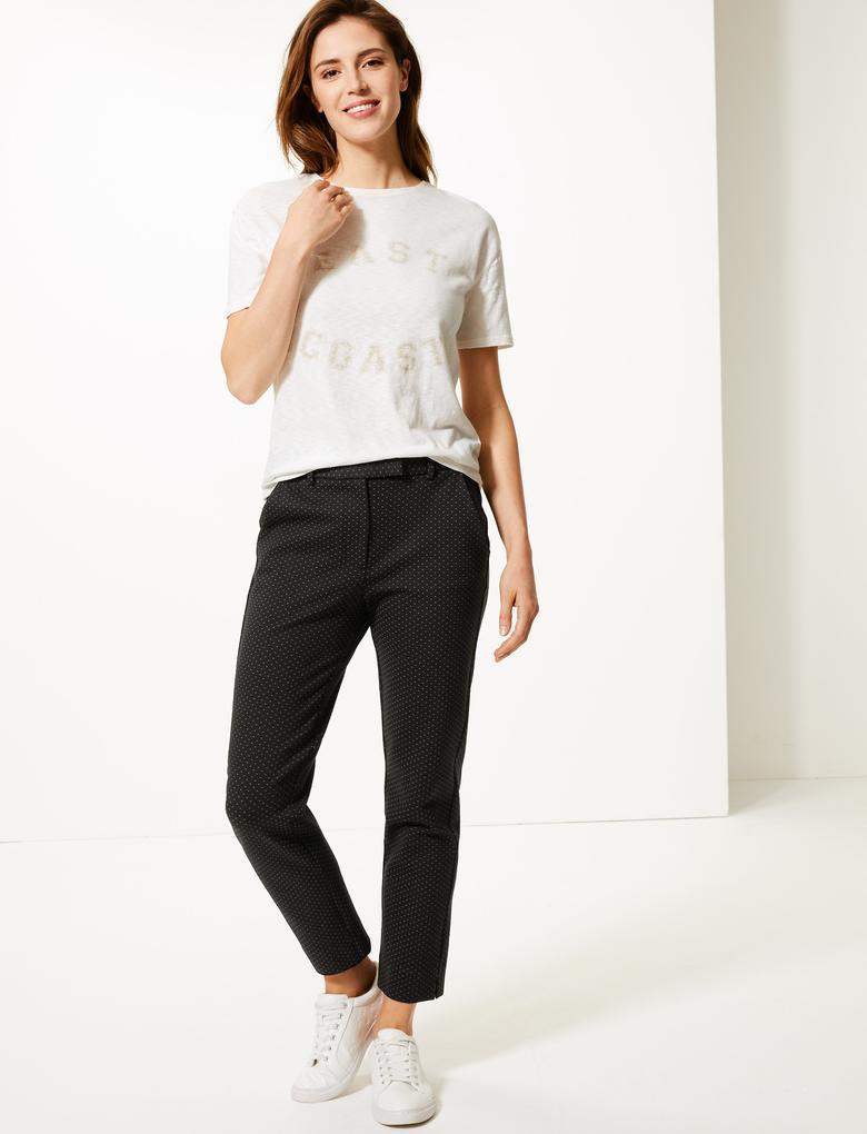 Puantiyeli Slim Fit 7/8 Pantolon