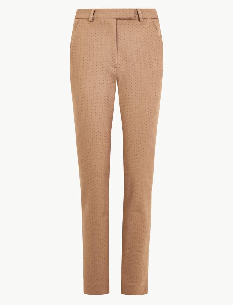 Kadın Kahverengi Puantiyeli Slim Fit 7/8 Pantolon