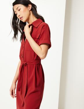 Kuşaklı Maxi Gömlek Elbise