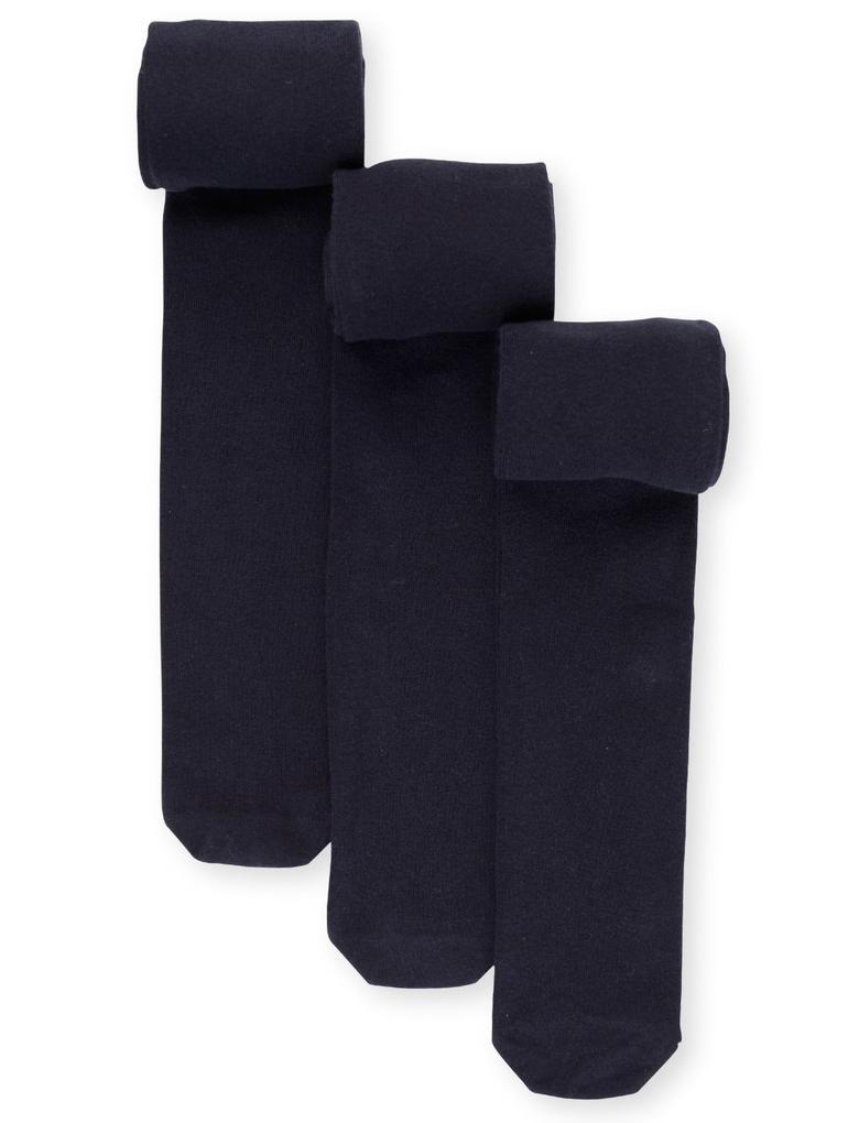 Kız Çocuk Lacivert 3'lü Freshfeet™ Pamuklu Body Sensor™ Okul Külotlu Çorabı (4 - 14 Yaş)