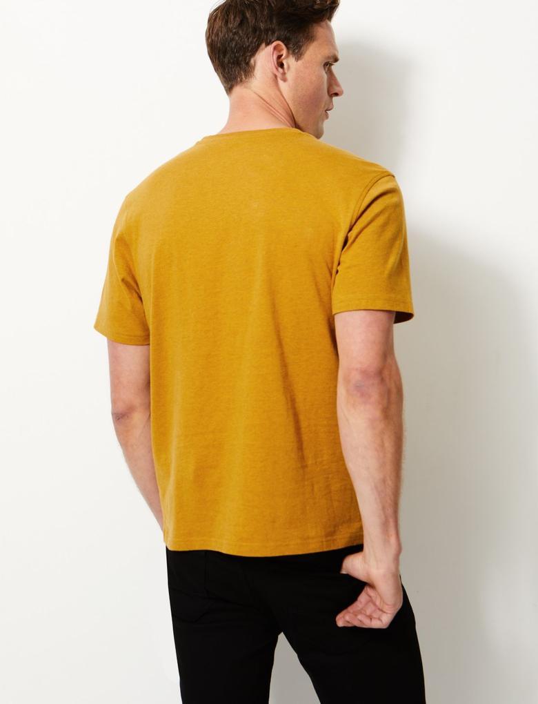 Erkek Kahverengi Saf Pamuklu Yuvarlak Yaka T-shirt