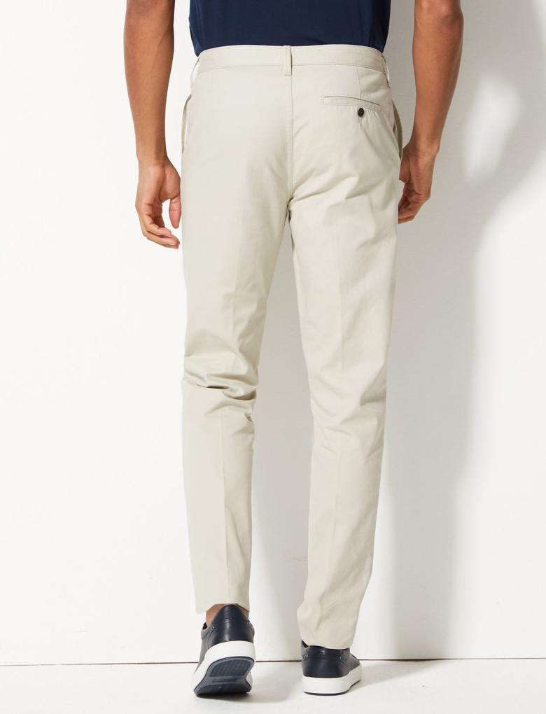 Erkek Gri Saf Pamuklu Tapered Fit Chino Pantolon