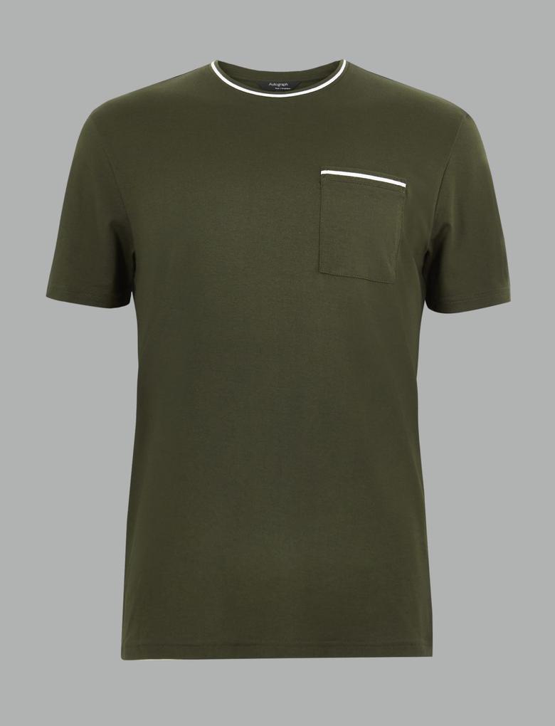 Erkek Yeşil Luxury Supima® Saf Pamuklu T-shirt