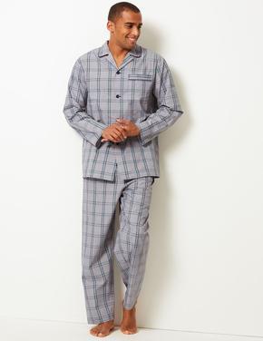 Erkek Yeşil Pamuk Karışımlı Ekose Pijama Takımı