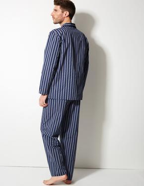 Erkek Mavi Pamuk Karışımlı Çizgili Pijama Takımı