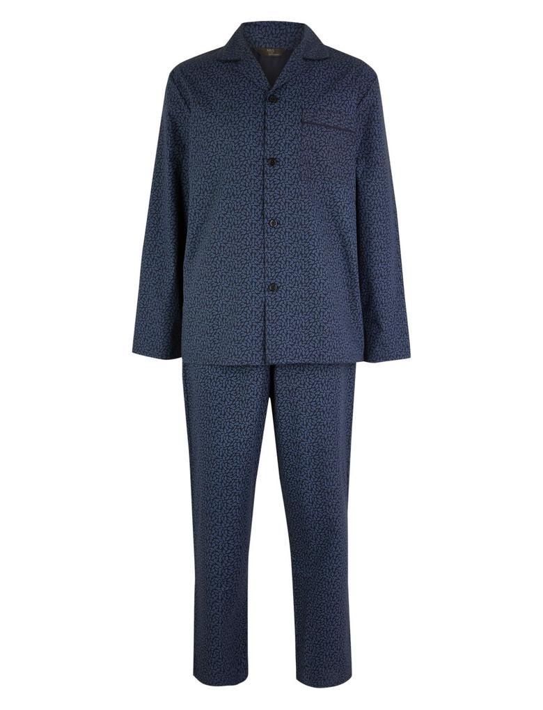 Mavi Pamuklu Desenli Pijama Takımı