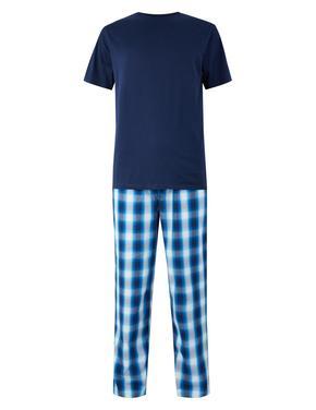 Erkek Lacivert Saf Pamuklu Ekose Pijama Takımı