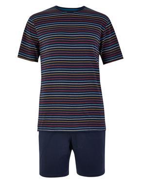 Erkek Lacivert Saf Pamuklu Çizgili Şortlu Pijama Takımı