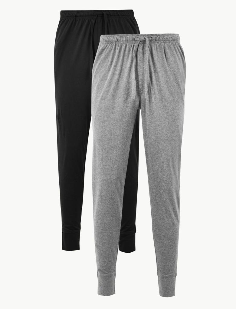Erkek Siyah 2'li Jarse Uzun Pijama Altı