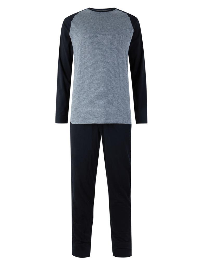Erkek Siyah Saf Pamuklu Pijama Takımı