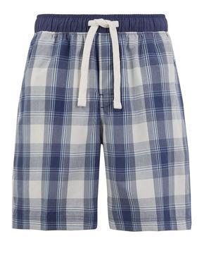 Erkek Mavi Ekose Şort Pijama Altı