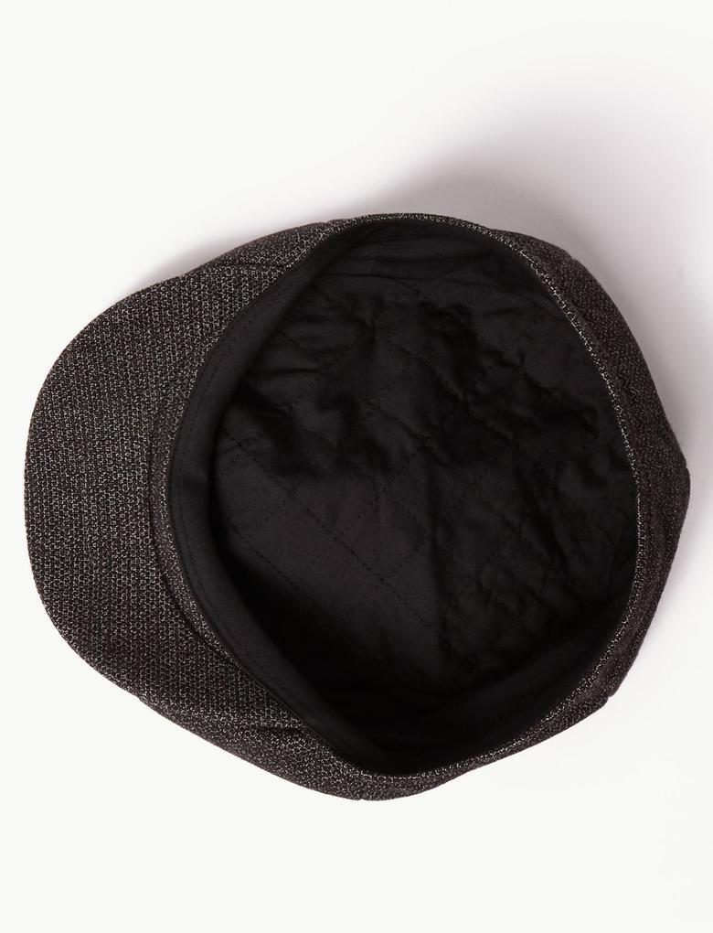 Erkek Gri Özel Dokulu Şapka