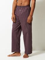 Erkek Mor Saf Pamuklu Ekose Pijama Takımı