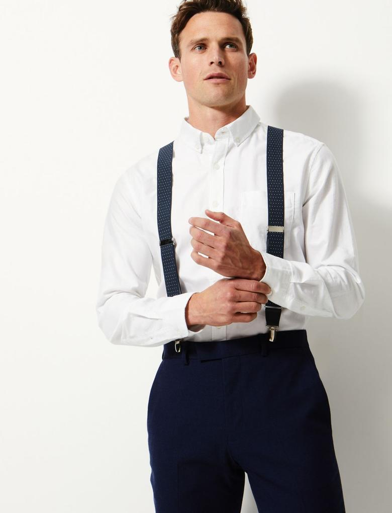 Erkek Lacivert Desenli Ayarlanabilir Pantolon Askısı