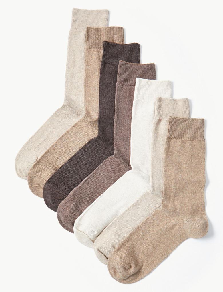 Erkek Kahverengi 7'li Cool & Fresh™ Pamuklu Çorap