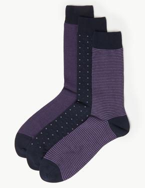 3'lü Mısır Pamuklu Çorap Seti