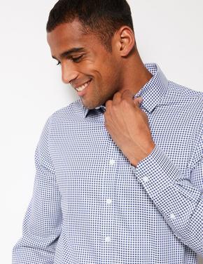 Lacivert Saf Pamuklu Ütü Gerektirmeyen Slim Fit Gömlek